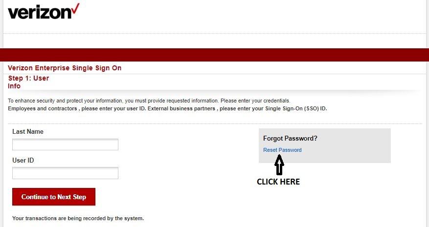 Verizon Pay Stub Login forgot password 1
