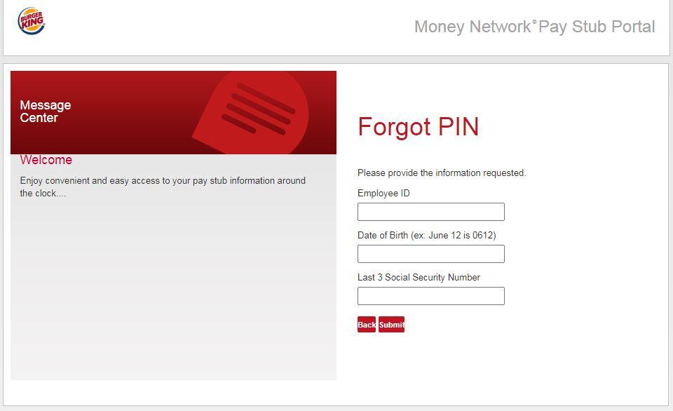 Burger King Pay Stub Login forgot Pin