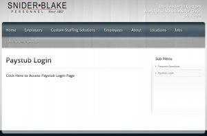 Snider Blake Pay Stub Login Page