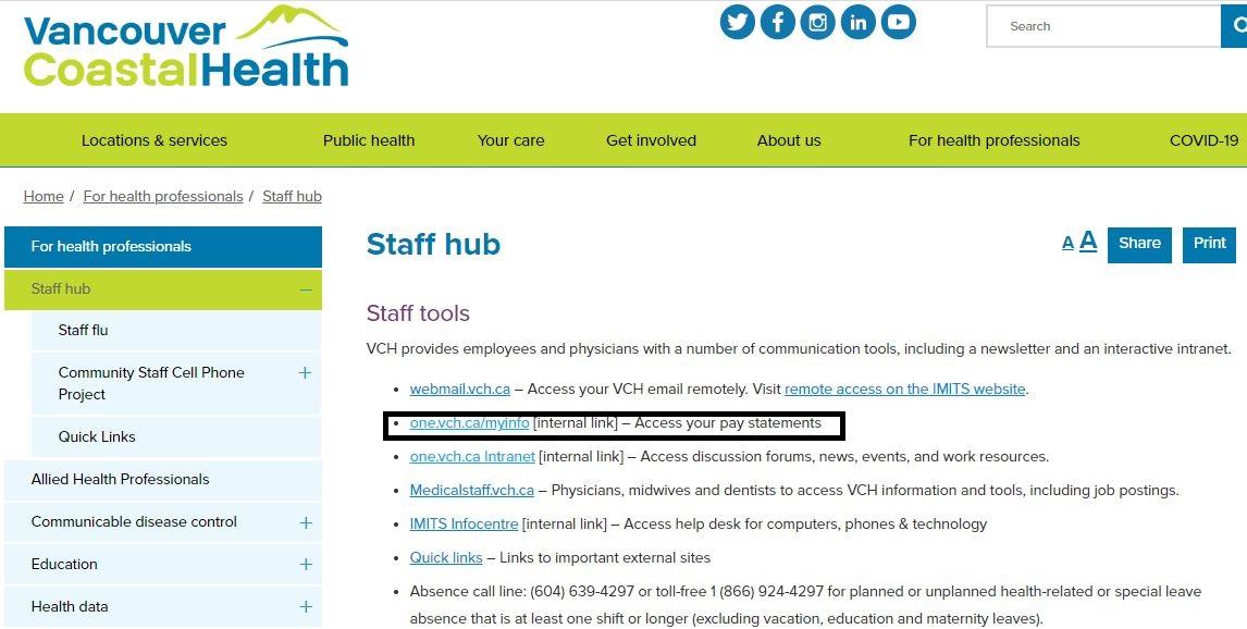 VCH Pay Stub Login Page
